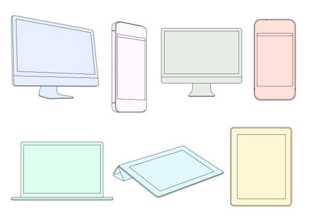 Digital devices in pastel colors. Vector set  Vector