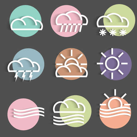 granizo: Vector conjunto de iconos de clima de colores Vectores