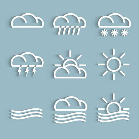 Vector set of white weather Icons Vector