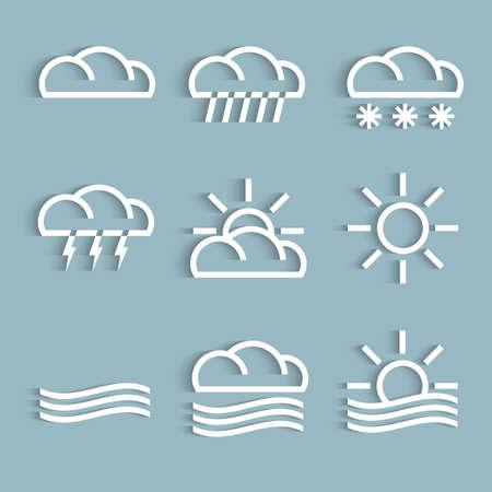 climatology: Vector set of white weather Icons