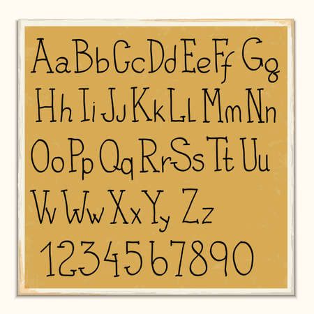 Hand -drawn alphabet letters and numbers. Vector set Vector