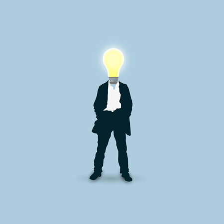 instead: Man with a light bulb instead of head. Vector concept illustration