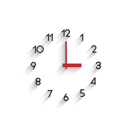 Trendy minimalistic clock with transparent shadow.  Vector