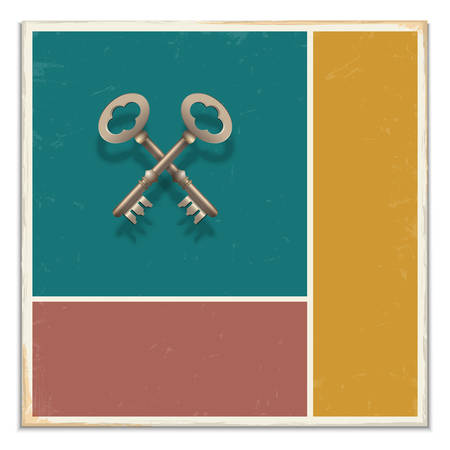 owning:  Two keys on grunge background.  Illustration