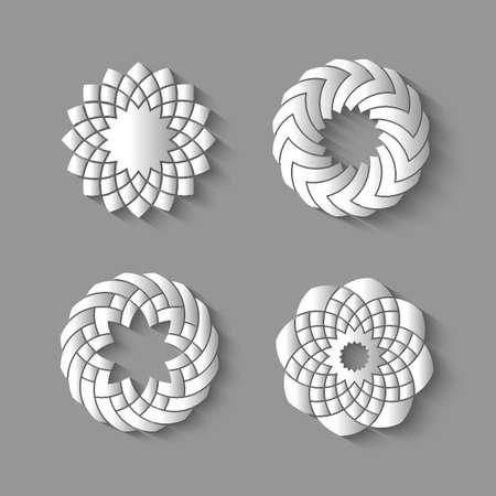 interweaving: Vector set of paper swirl-elements for design