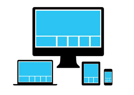 adapt:  Web design in simple icons electronic devices. Vector set