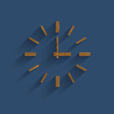 Wooden minimalistic clock with transparent shadow.  Vector
