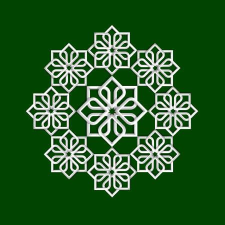3d flower pattern in arabic style illustration   イラスト・ベクター素材