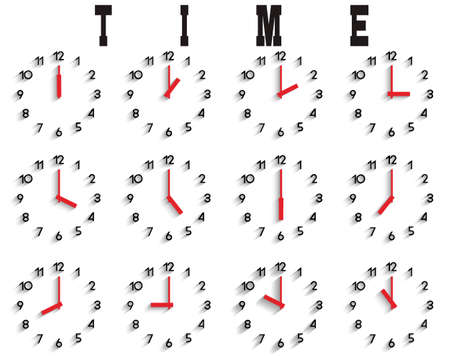 set of clocks with transparent shadow Vector