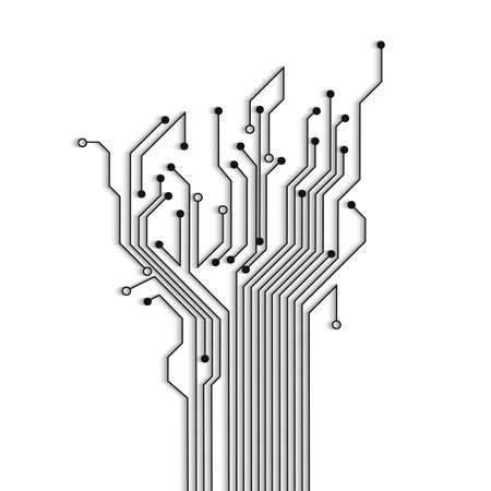 Abstract circuit tree with shadow  Vector background  Vector
