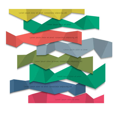 3d colored paper banners - origami style Vector