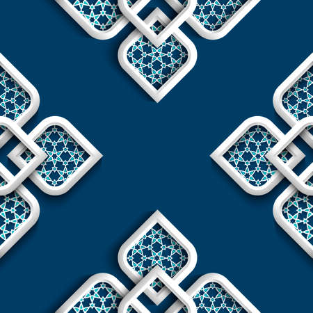 3d white ornament in arabic style illustration