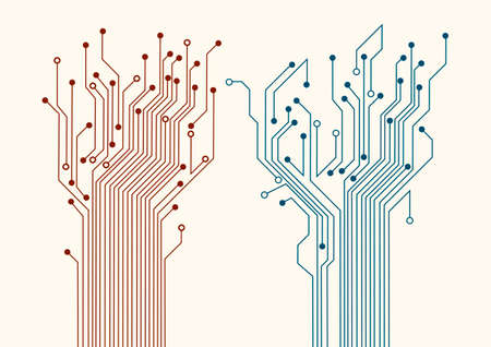 Two abstract circuit trees background  Vector