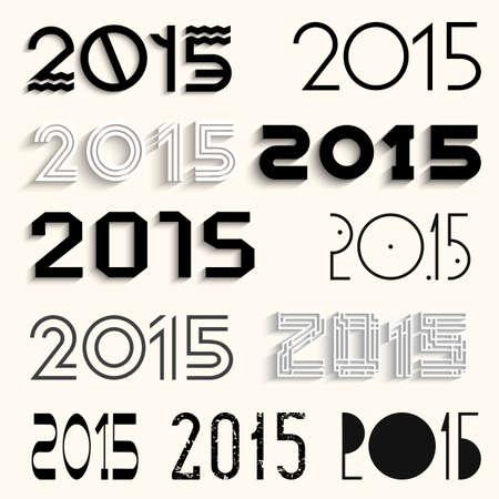 set of various lettering 2015 for design  Vector