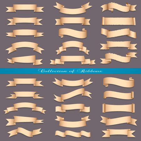 Big set of banners ribbons scrolls. Vector collection