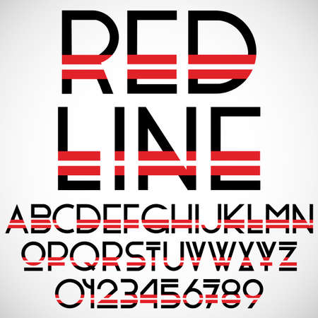 punctuation: Black and red font with numbers. Vector set Illustration