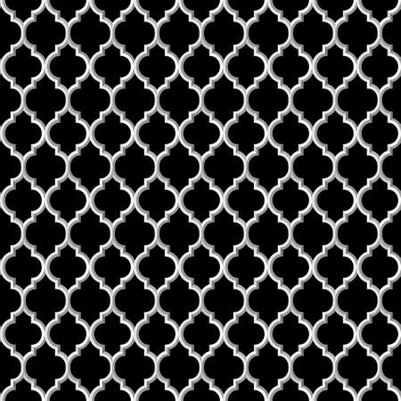 3d black and white islamic seamless pattern. Vector background  Vector