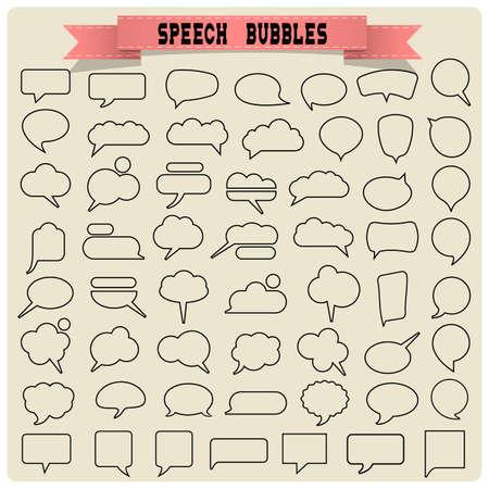 Gran conjunto de burbujas de discurso. Vector colección Foto de archivo - 31360419