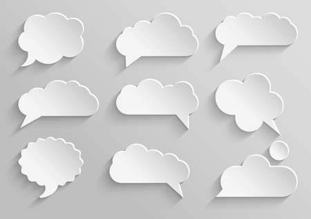 adhesive:  Vector set 1 of paper speech bubbles with shadows Illustration
