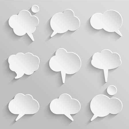 think bubble:  Vector set 2 of paper speech bubbles with shadows
