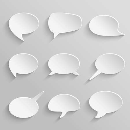 Vector set 3 of paper speech bubbles with shadows Illustration