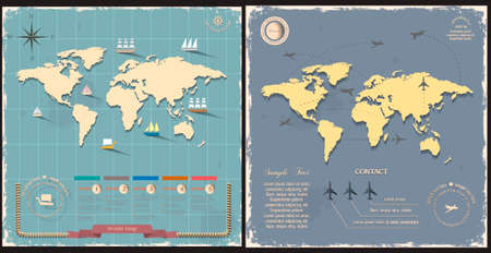 World map with aircraft for design in vintage style royalty free world maps in retro style design vector eps10 vector gumiabroncs Images
