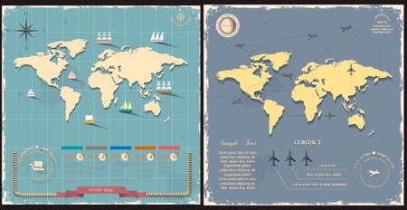 inforgaphic: World maps in retro style design. Vector eps10