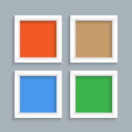Four white modern frames. Vector set Vector