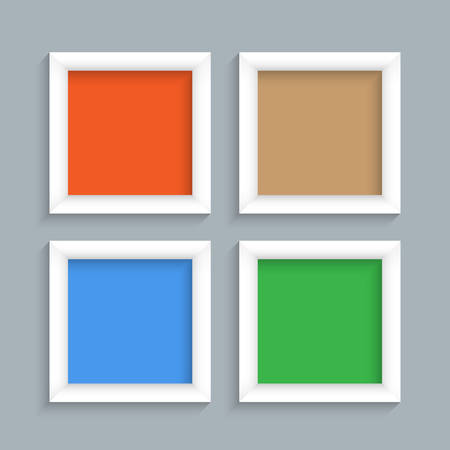wood board: Four white modern frames. Vector set