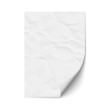 Hoja de papel arrugado. Ilustración de vector