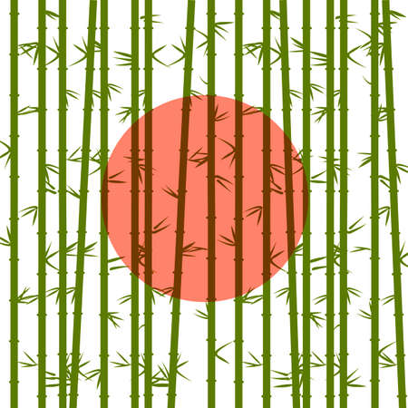bamboo forest: Bamboo on a background of the red sun. Vector EPS10