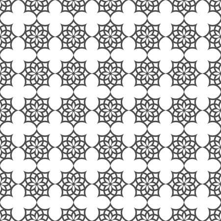이슬람 모티브로 흑백 원활한 패턴입니다.