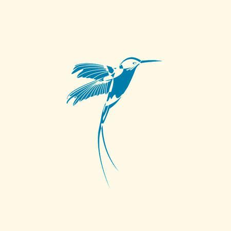 Silhouette of hummingbird.
