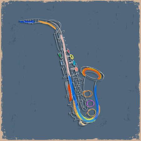 tenore: Sketch di saxofone su carta grunge. Vector EPS10