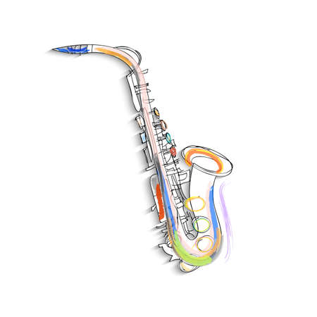 Sketch of saxophone on white background. Vector EPS10