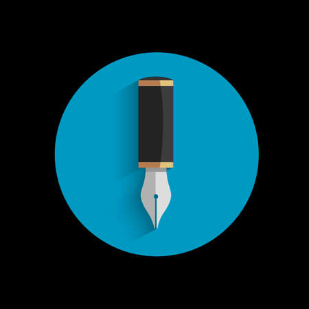 Icon of stylized writing pen with shadow. Vector EPS10 Vector