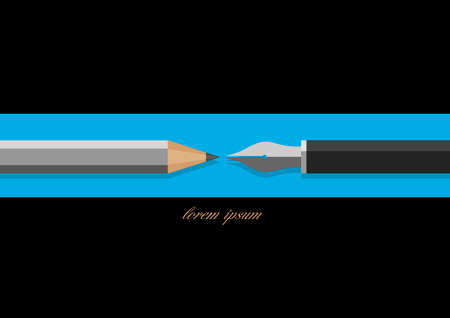 Stylized pencil and writing pen