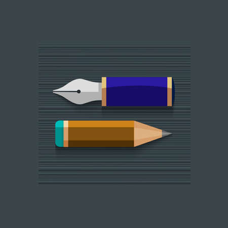 Stylized writing pen with pencil.   Vector