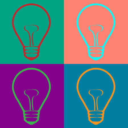 warhol: Light Bulb  in Warhol style. Illustration