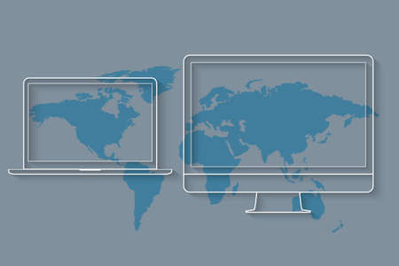 distributed: Media devices like desktop computer and laptop on map of world. Vector concept illustration