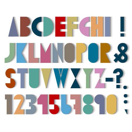 punctuation mark: Fuente de papel, los n�meros y la marca de puntuacion de sombras. Vector conjunto