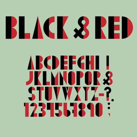 punctuation mark: Red-black font, numbers and punctuation mark in retro style. Vector set Illustration
