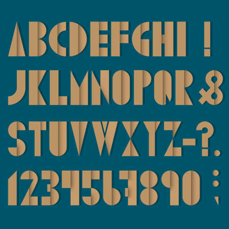 old mark: Font, numbers and punctuation mark made from old paper. Vector set