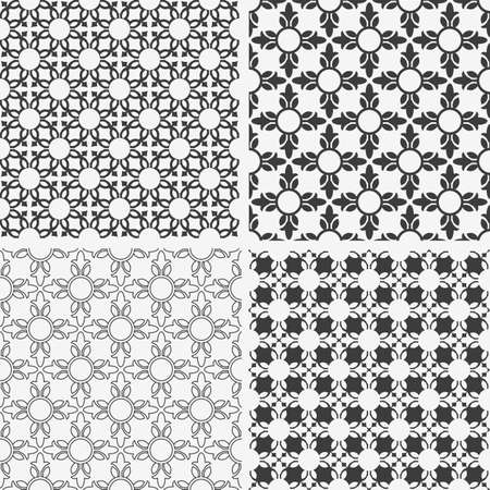 Monochrome abstract floral seamless patterns. Vector set Vector
