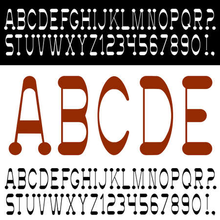 Stylish font with numbers. Vector set Vector