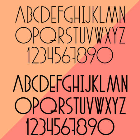 Vector set of slim alphabet and numbers Vector
