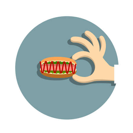 web desig: Hand with  hotdog  in cartoon style.  Illustration