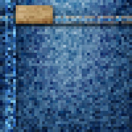 jeans background: Jeans background - pixel style. Illustration