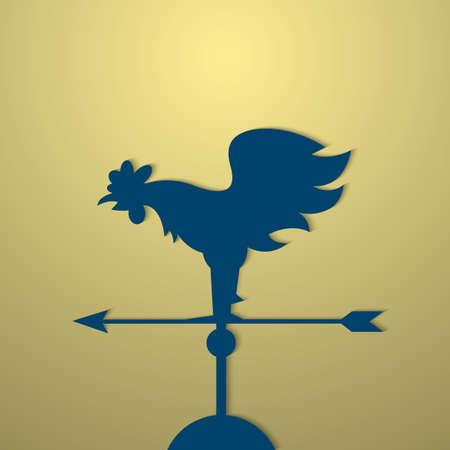 weathervane: Rooster weather vane.  Illustration
