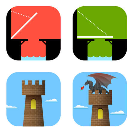 Set of icons bridge and tower.  Vector